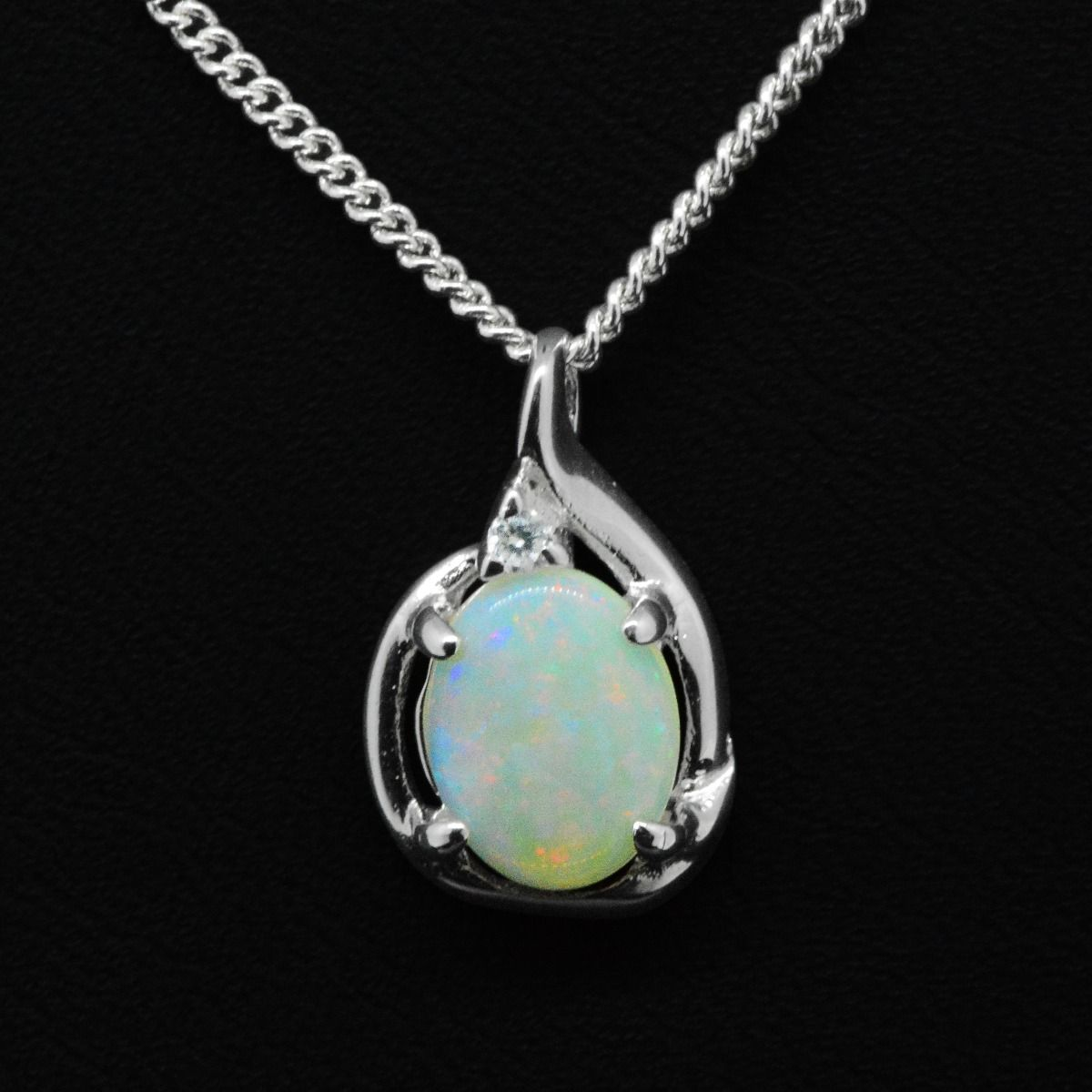 Sterling Silver Claw Set Solid Opal 9mmX7mm, Pendant set with one crystal