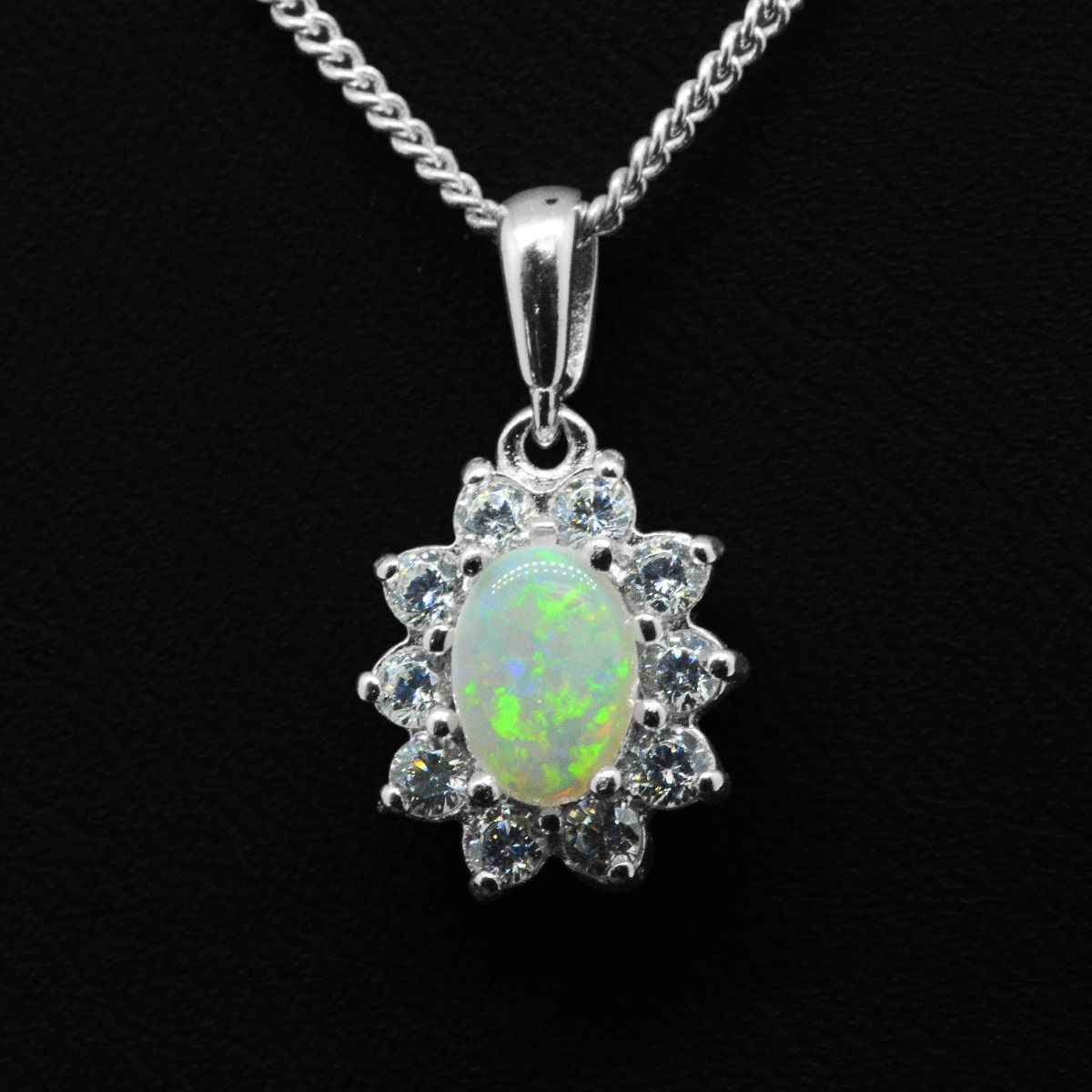 Sterling Silver Solid Opal Crystal Cluster Pendant