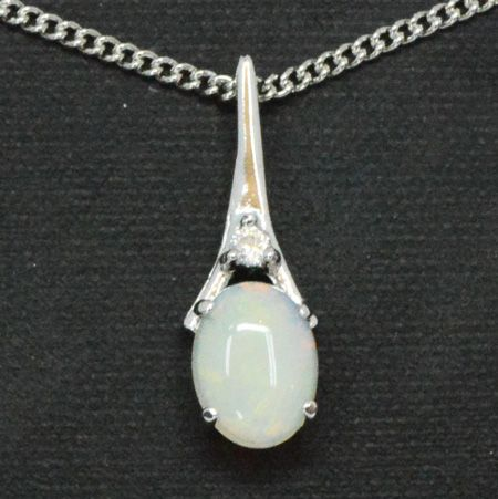 Claw Set Sterling Silver Solid Opal Pendant