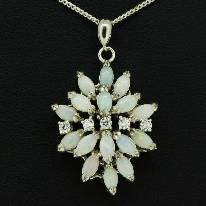 16 opal sterling silver pendant