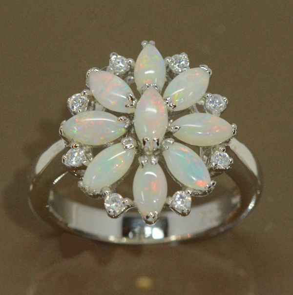 Ladies Sterling Silver Solid Opal Ring