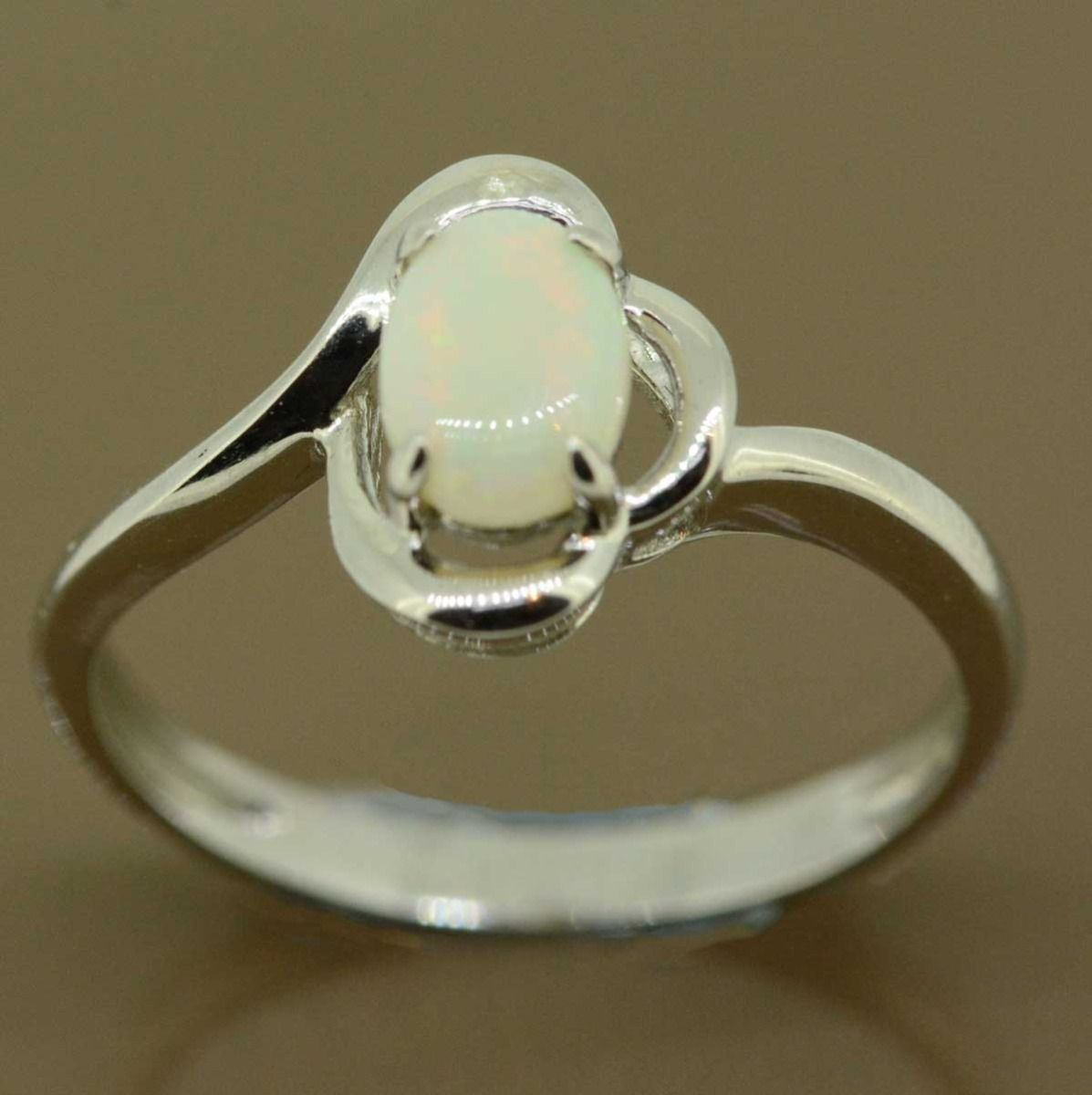 Sterling silver solid opal ring 7mmx5mm