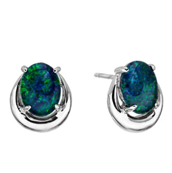 Horse Shoe Sterling Silver Triplet Opal Earrings