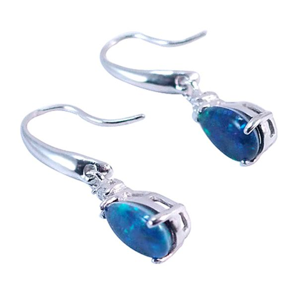 Sterling Silver Triplet Opal Hanging Tear Drop Earrings