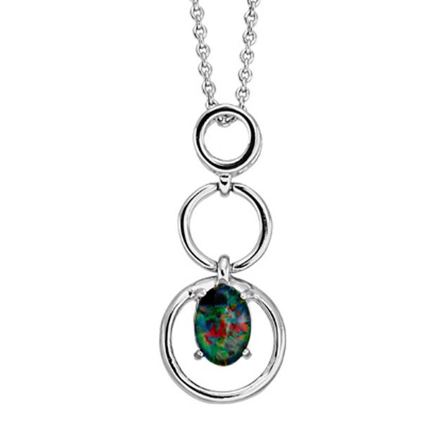Sterling silver triplet opal pendant circle design