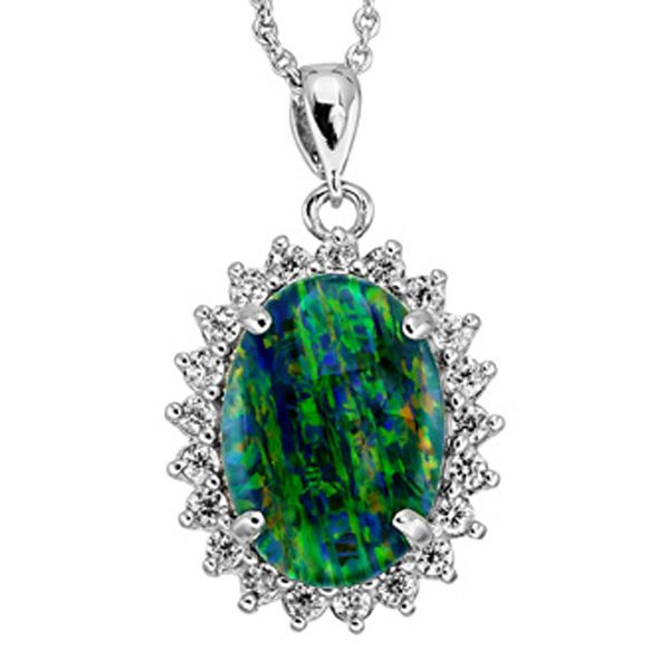 Sterling Silver Triplet Opal Crystal Cluster Pendant
