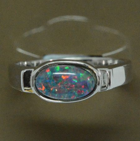 Sterling Silver Horizontally Set Triplet Opal Ring