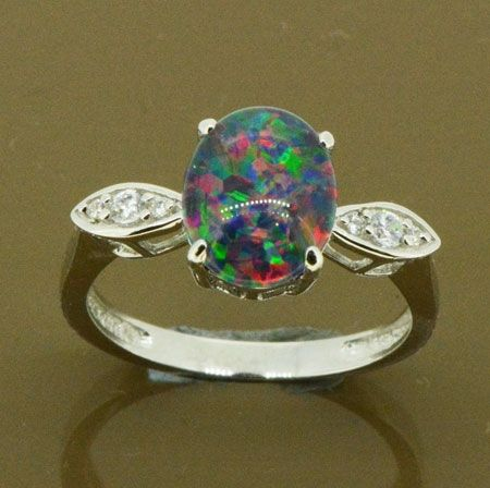 LADIES TRIPLET OPAL STERLING SILVER RING