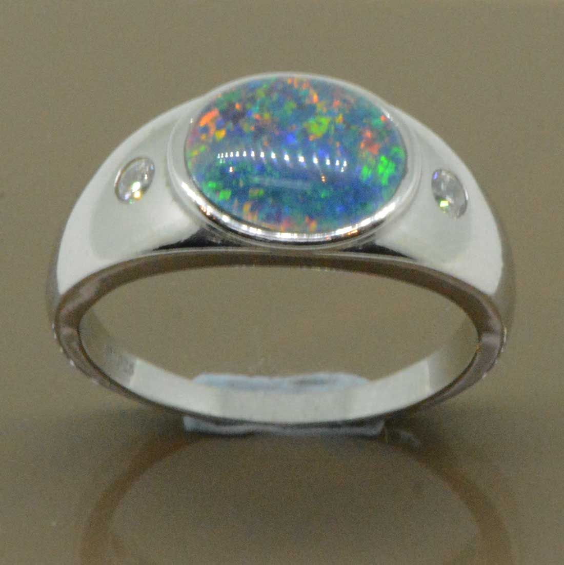 Sterling Silver 12mmx10mm triplet opal ring  with 2 cut crystals