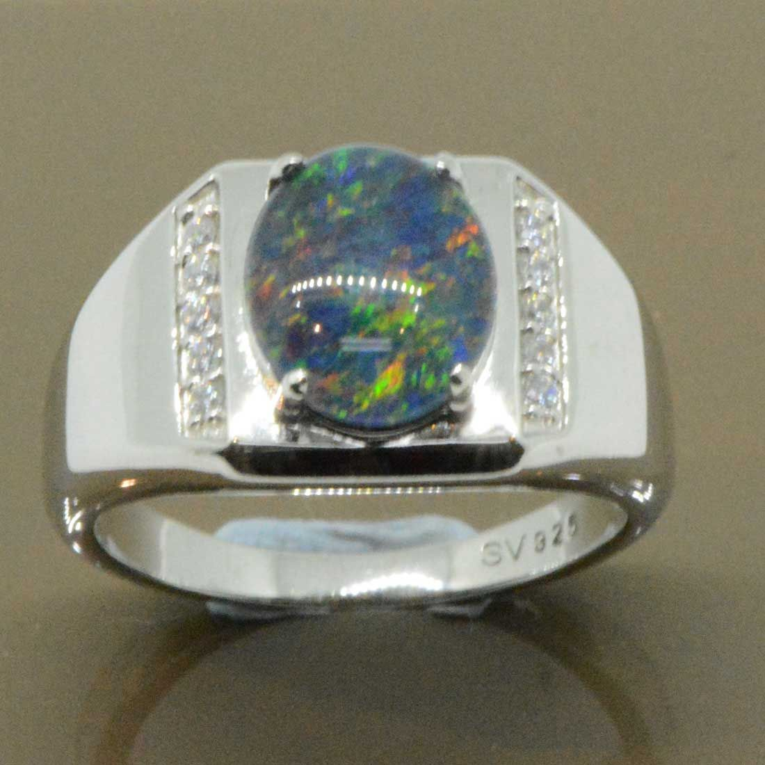 Sterling silver mens triplet opal ring