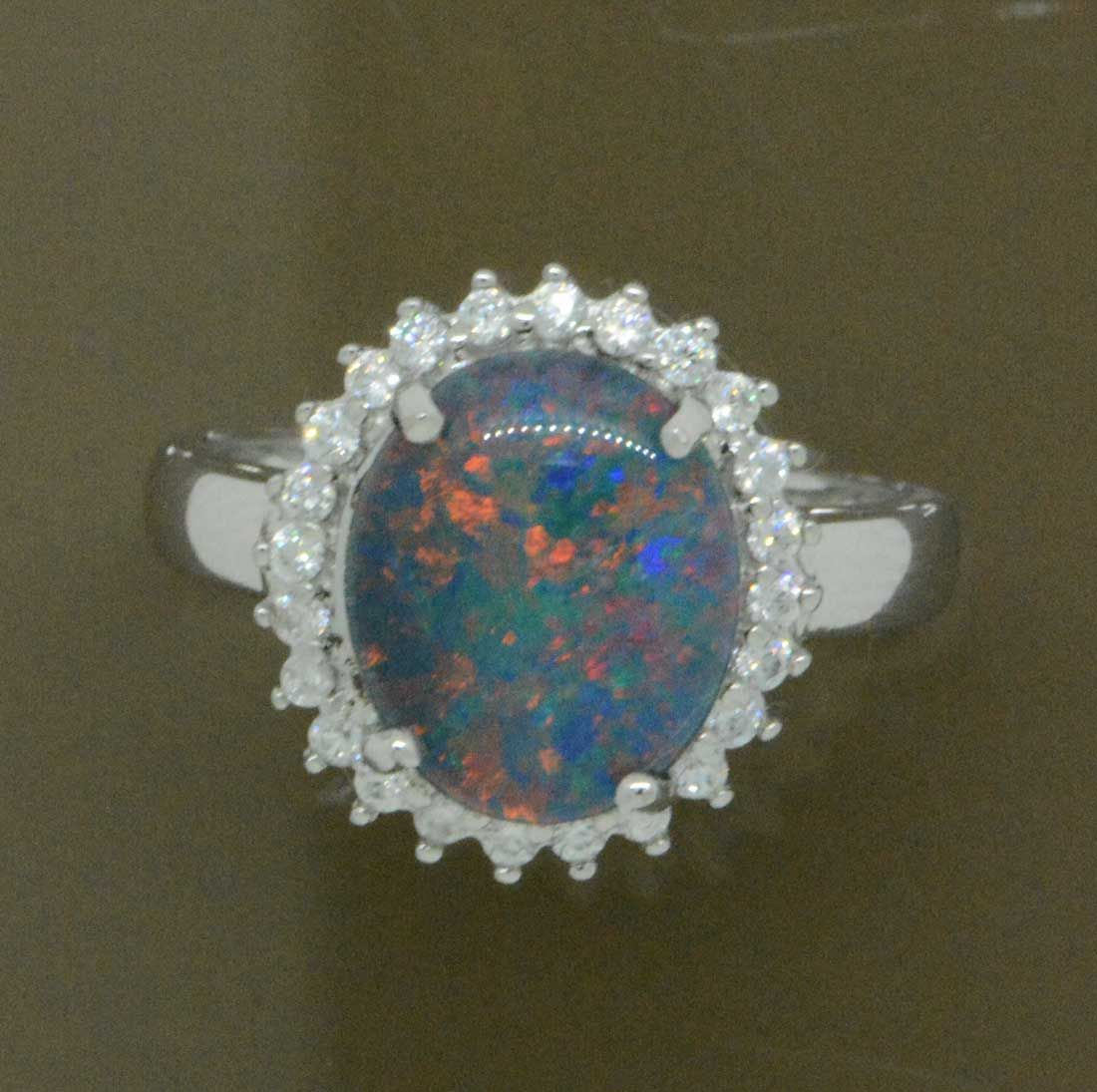 Sterling Silver Triplet Opal Ring Surrounded by Crystals