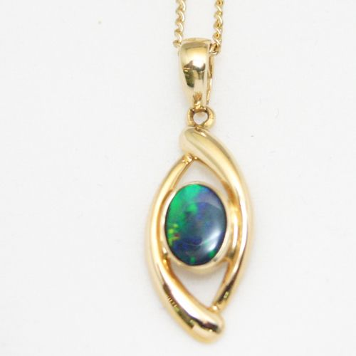 Oval Doublet Opal Pendant set in 14ct Yellow Gold