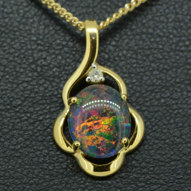 9ct gold triplet opal pendant 10mmx8mm