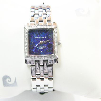 Ladies Pierre Cardin Silver Plated Opal Face Watch with Crystals