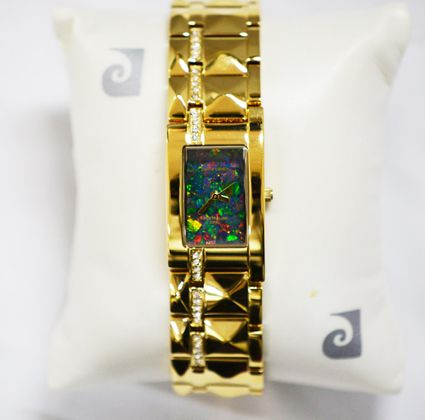 Pierre Cardin Ladies Gold Plated Opal Face Bracelet Watch