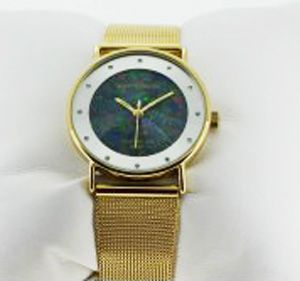 Ladies Pierre Cardin Gold Plated Opal Face Watch with Mesh Band