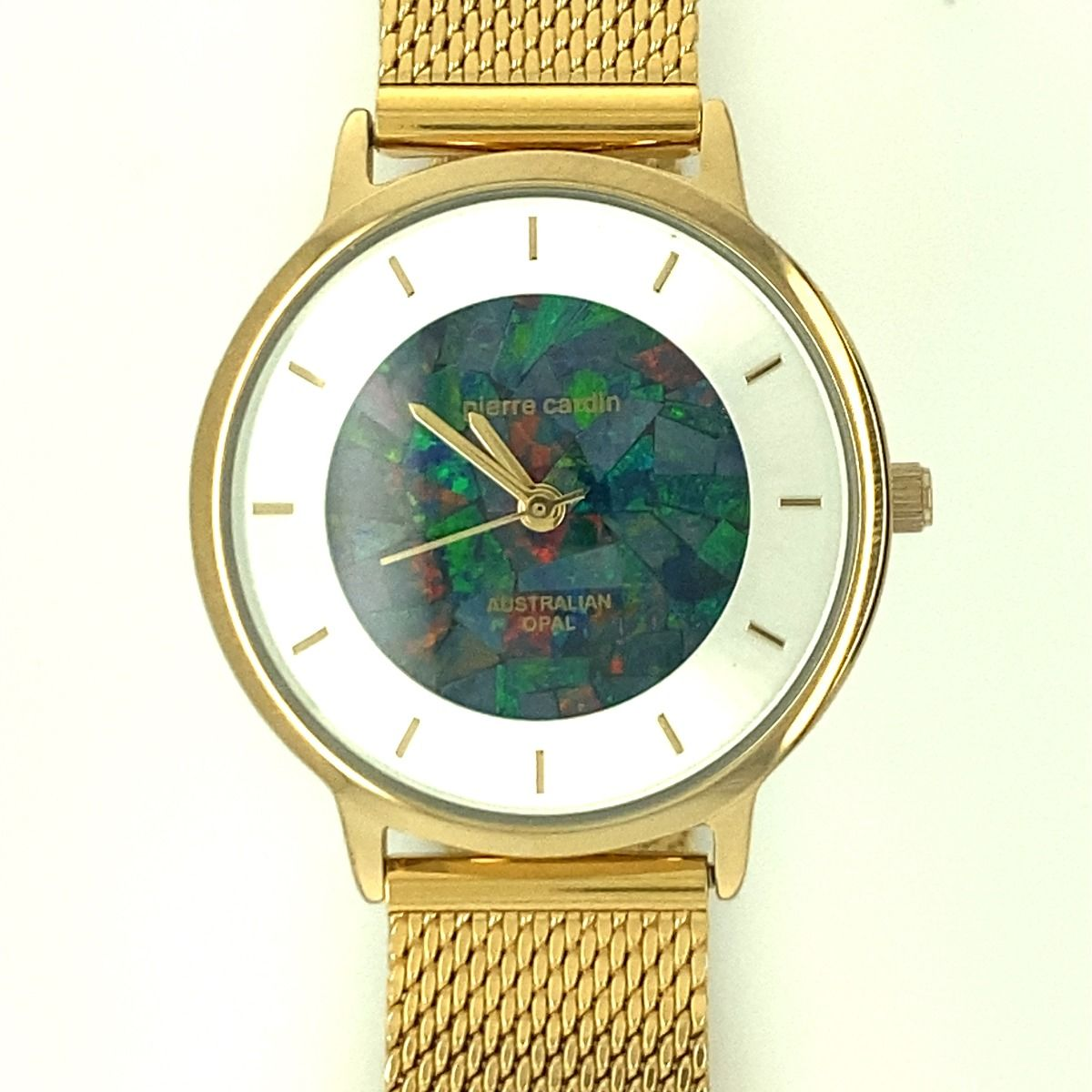 30mm Ladies Pierre Cardin Opal Face Inlay Watch with mesh band