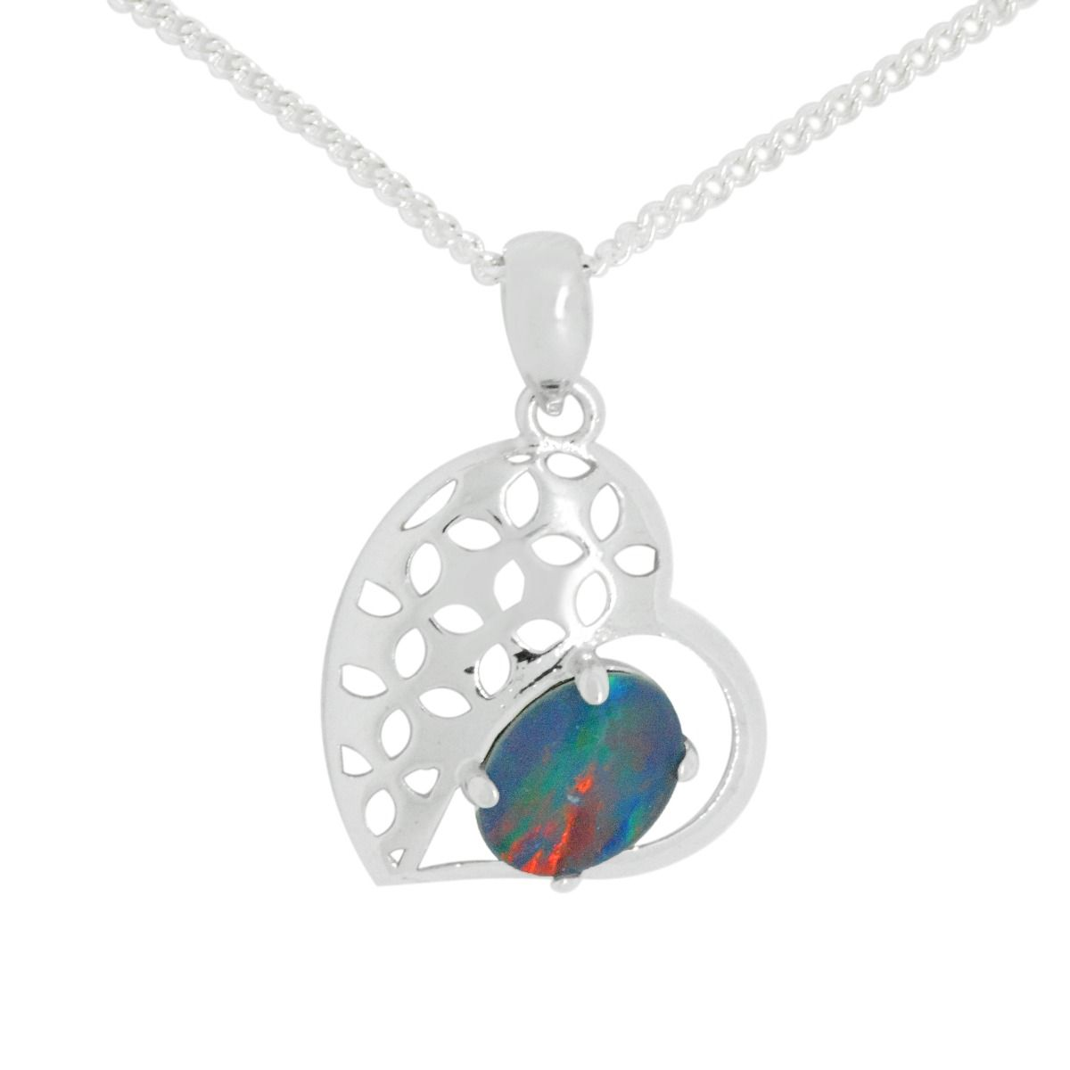 Heart Shaped Sterling Silver Triplet Opal Pendant