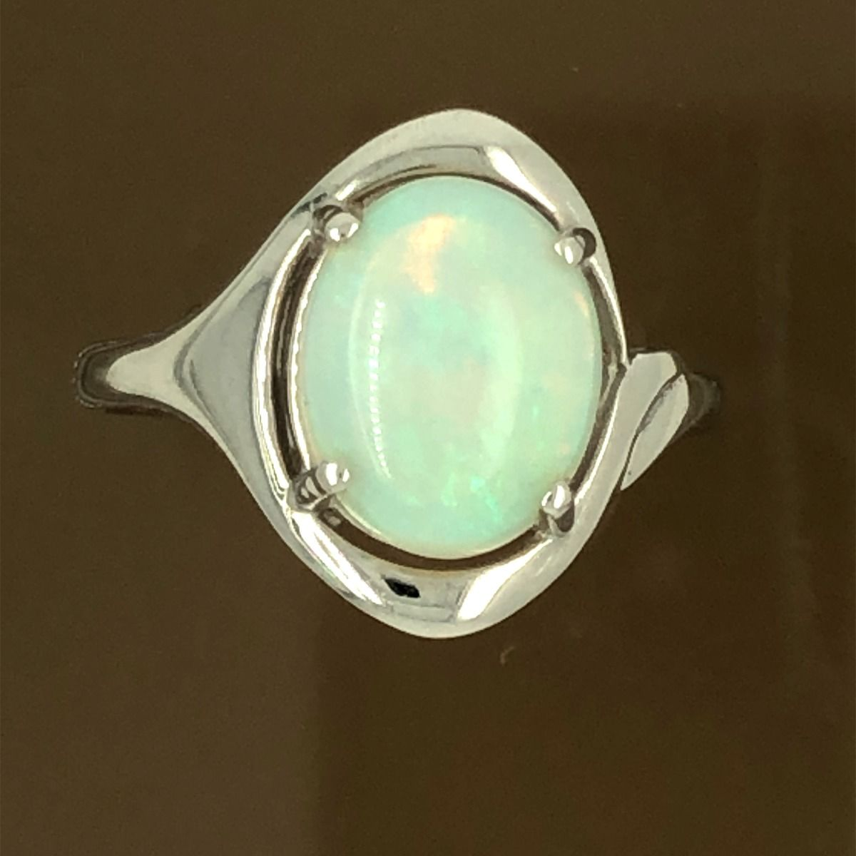 Solid Opal Ring set in 18ct White Gold (10x8mm)