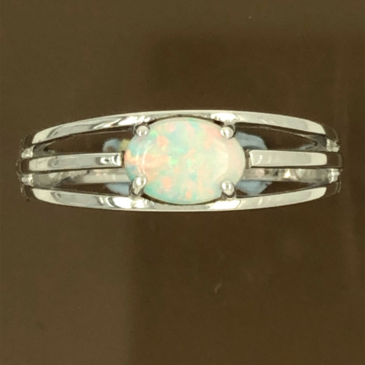 Solid Opal ring set in 14ct White Gold